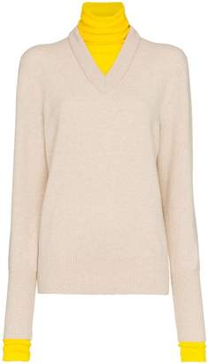 Joseph Layered V-neck and turtleneck knit wool-blend jumper