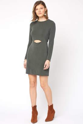 NSR Long Sleeve Cupro Cut Out Mini Dress