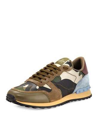 Valentino Men's Rockrunner Laminate Camo Leather Trainer Sneaker, Gold/Green $875 thestylecure.com