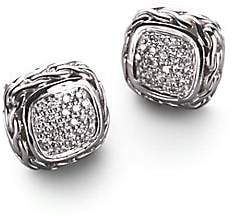 John Hardy Classic Chain Diamond & Sterling Silver Small Square Stud Earrings