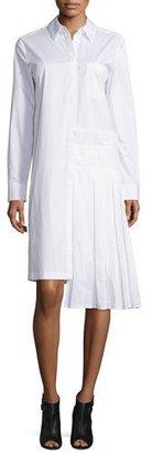 DKNY Long-Sleeve Collared Poplin Shirtdress, White $445 thestylecure.com