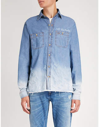 Hollywood Trading Company Distressed slim-fit denim shirt
