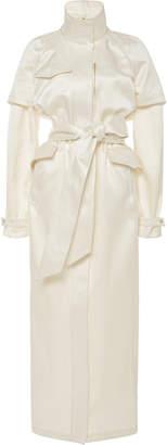 Brandon Maxwell Satin Parka Trench Coat