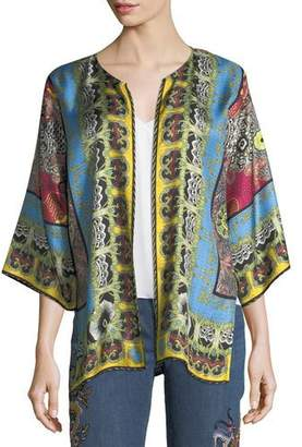 Etro Open-Front Tribal-Print Reversible Jacket