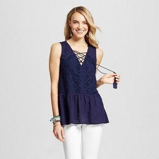 Knox Rose Women's Lace Up Peplum Tank with Lace Back $22.99 thestylecure.com