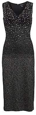 St. John Women's Ombre Metallic Tweed V-Neck Dress