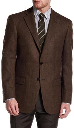 Hart Schaffner Marx Brown Herringbone Two Button Notch Lapel Wool Sport Coat $595 thestylecure.com