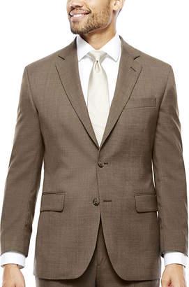 STAFFORD Stafford Travel Wool Blend Brown Sharkskin Classic Fit Jacket
