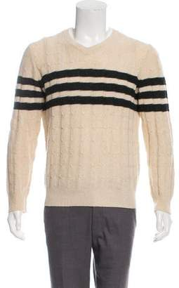 Vince Striped Cable Knit Sweater