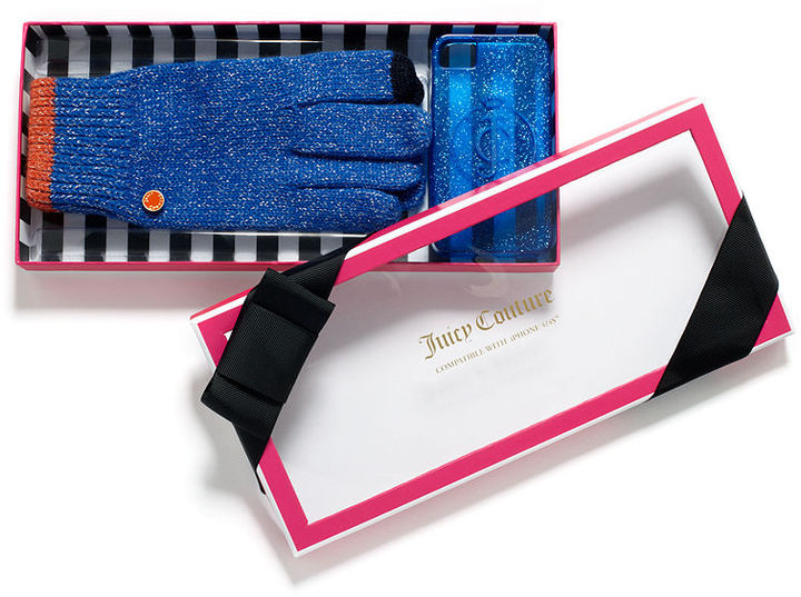 Juicy Couture Gift Set, Tech Touch Gloves with Gelli iPhone Case