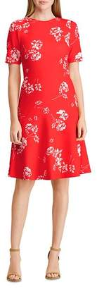 Ralph Lauren Jacquard Crepe Floral Dress