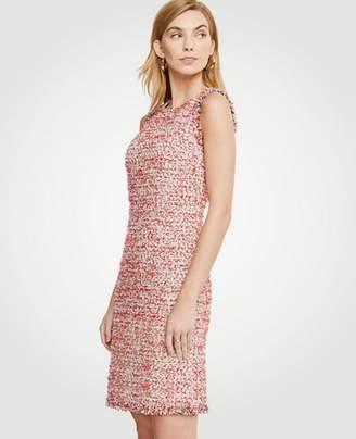Ann Taylor Tall Textured Tweed Fringe Shift Dress