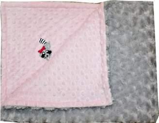 Minky Lil Cub Hub Lil' Cub Hub Blanket, Pink Dot/Silver Rosebud, Raccoon