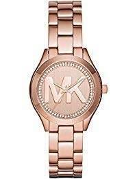 Michael Kors Women's Mini Slim Runway Logo Gold-Tone Watch MK3549