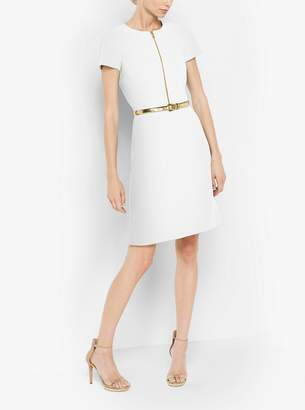 Michael Kors Belted Stretch-Wool A-Line Dress