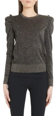 Dolce & Gabbana Ruched Shoulder Metallic Sweater