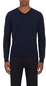Piattelli MEN'S CASHMERE V-NECK SWEATER-NAVY SIZE S