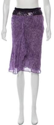Blumarine Sequin-Trimmed Knee-Length Skirt