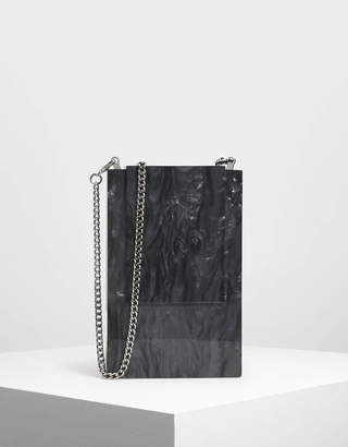 Charles & Keith Resin Front Flap Clutch