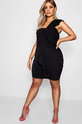 boohoo Plus Katy Ruffle Front Ruched Bodycon Dress