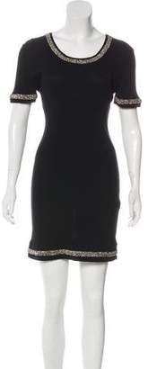 Chanel Embellished Rib Knit Dress