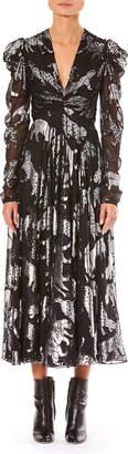 Carolina Herrera Metallic Wildcats V-Neck Long-Sleeve Gathered Dress