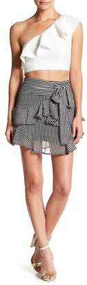 Know One Cares Stripe Ruffle Mini Skirt $42 thestylecure.com