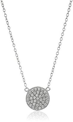 Sterling Silver Rhodium Plated and Cubic Zirconia Pave Disc Pendant Necklace