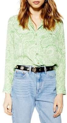 Topshop Paisley Print Buttoned Blouse