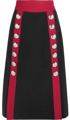 Dolce & Gabbana Button-Embellished Wool-Blend Midi Skirt