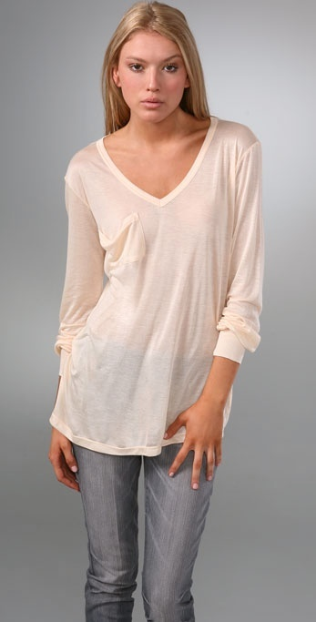 Kain Label V Neck Pocket Tee with Long Sleeves