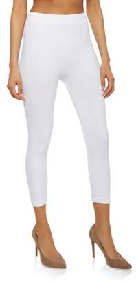 Glass House Apparel Capri Leggings Soft and Smooth with Extra Stretchy Fabric 3/4 Ribbed Cropped High Waist (White)
