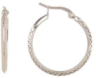 Argentovivo Sterling Silver Textured 25mm Hoop Earrings