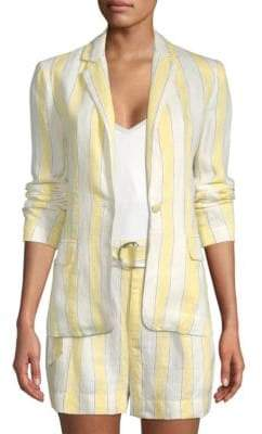 Frame Striped Linen Blazer