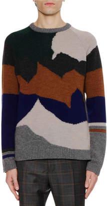 Lanvin Men's Landscape Intarsia Crewneck Sweater