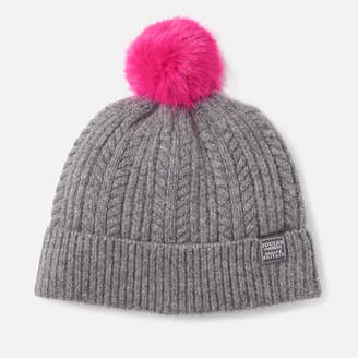 Joules Women's Bobble Hat Fine Cable with Faux Fur Pom