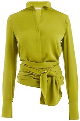 WtR - Alexandra Green Tie Waist Silk Blouse