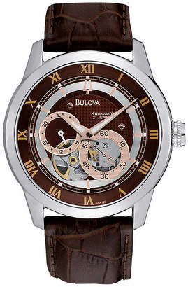Bulova Mens Brown Leather Strap Watch 96A120