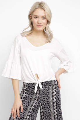 RD Style Short Sleeve Tie Front Top