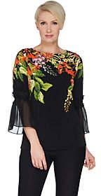Susan Graver Printed Liquid Knit Top w/ SmockedSheer Sleeves