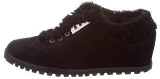 Stuart Weitzman Suede Shearling-Trimmed Sneakers