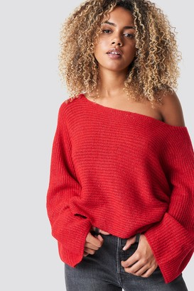 Trendyol Off Shoulder Wide Sleeve Jumper Red