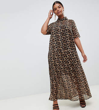 Asos DESIGN Curve pleated maxi shirt dress in leopard print