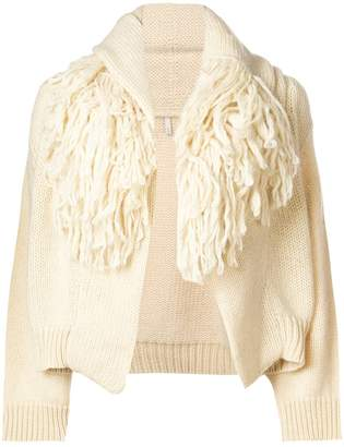 Boboutic fringed collar cardigan