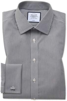 Charles Tyrwhitt Slim Fit Non-Iron Black Bengal Stripe Cotton Dress Shirt Single Cuff Size 14.5/32
