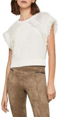 BCBGMAXAZRIA Fringe Short-Sleeve Cotton Sweater