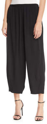 Joan Vass Relaxed Pull-On Cropped Pants, Plus Size