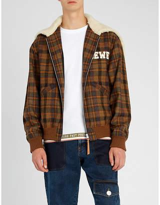 Loewe Shearing-trim tartan merino-wool jacket
