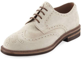 Brunello Cucinelli Suede Brogue Wing-Tip Shoe
