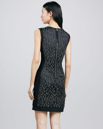 Trina Turk Sharise Leopard-Jacquard Dress